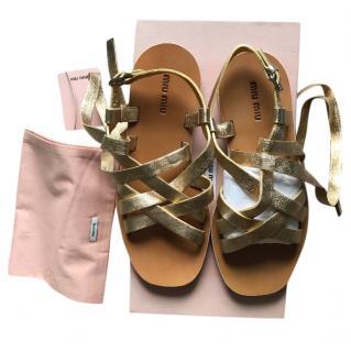 Miu Miu Gold  Wrap Sandals