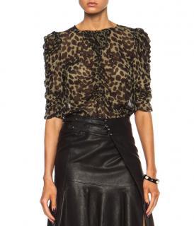 Isabel Marant Leopard Print Ruched Blouse