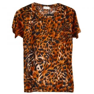 Saint Laurent Leopard Print Crew Neck Top