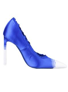 Tom Ford Blue & White Satin Hand Painted Pumps