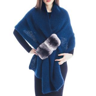 FurbySD fur-trimmed wool shawl