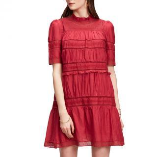 Isabel Marant lace-insert red mini dress