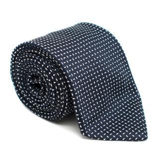 Brioni Navy & White Embroidered Silk Tie