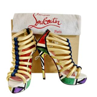 Christian Louboutin geometric colour-block platform sandals
