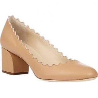 Chloe scallop-edge nude leather pumps