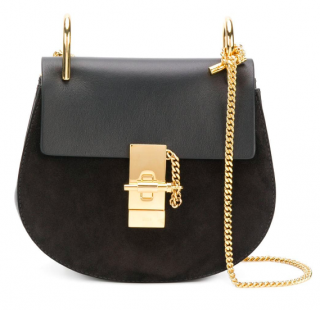 Chloe Drew Mini black leather and suede cross-body bag