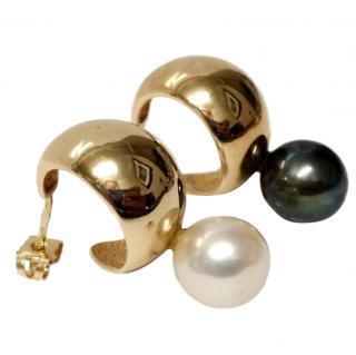 Vintage Black & White Pearl Hoop Earrings