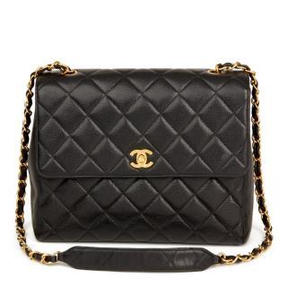Chanel Vintage Caviar Leather Black Flap Bag