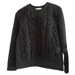 Sandro Black Ruffle Front Sweater