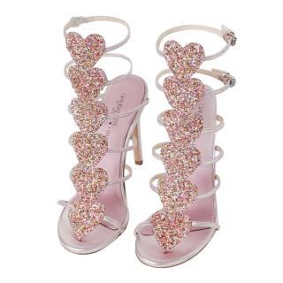 Giambattista Valli x H&M Pink Metallic Glitter Heart Sandals