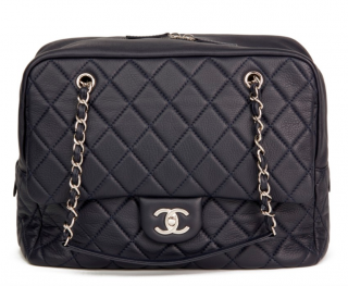 Chanel Quilted Leather Navy Jumbo Camera Bag