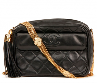 Chanel Vintage Black Quilted Fringed Shoulder Bag