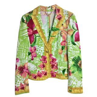Versace Green Floral Printed Jacket