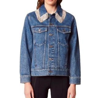 Sandro denim jacket with fringed rhinestone collar