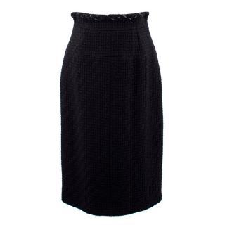 Chanel Black Wool Tweed Pencil Skirt