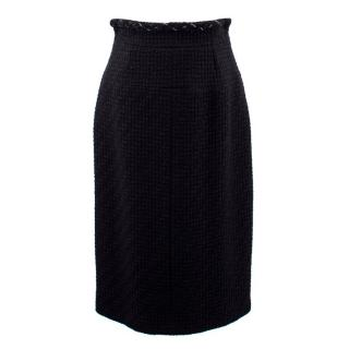 Chanel Black Wool Tweed Pencil Skirt