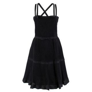Chanel Black Metallic Pleated Dress