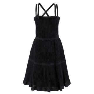 Chanel Black Metallic Pleated Dress