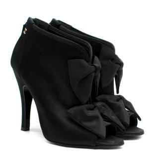 Chanel black satin double bow detail booties