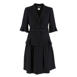 Chanel Black Wool & Silk Blend Jacket & Skirt