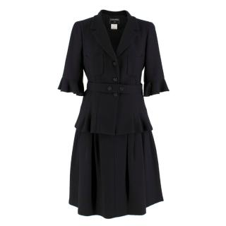 Chanel Black Wool & Silk Blend Jacket & Skirt