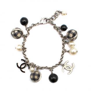 Chanel Faux Pearl, Gingham Ball & CC Charm Bracelet