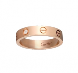 Cartier 18kt Rose Gold 0.02ct Diamond Love Wedding Band