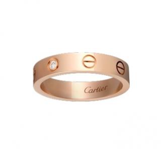 Cartier 18kt Rose Gold 0.02ct Diamond Love Wedding Band