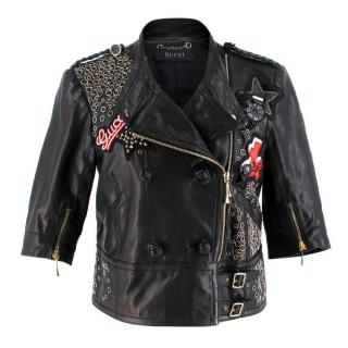 Gucci Rare Black Eyelet & Patch Embellished Leather Jacket