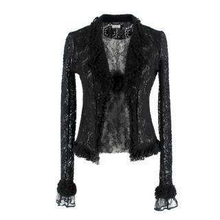 Chanel Black Fine Lace Vest Top & Cardigan