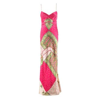 Christian Dior Pink & Green Paisley Silk Gown