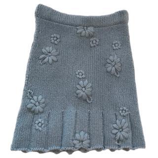 Agnona Grey Floral Knit Skirt