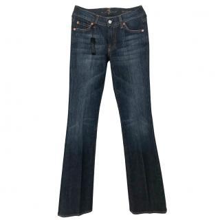 7 all mankind dark blue flared jeans