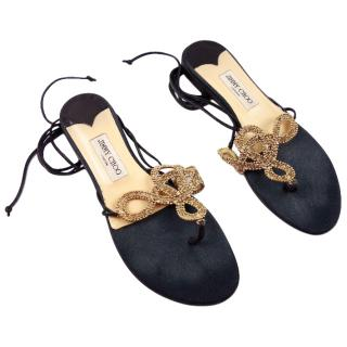 Jimmy Choo Gold & Black Embellished Satin Ankle Tie Sandals