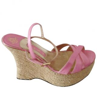 Gina Baby Pink Espadrille Wedge Sandals