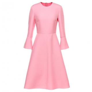 Valentino Pink Crepe Ruffle Sleeve Dress
