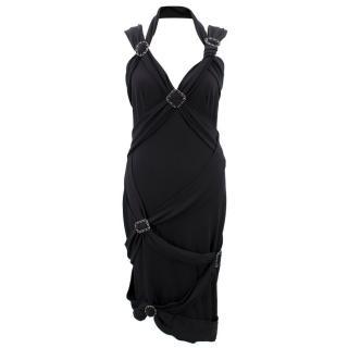 Chanel Black Chain Buckle Detailed V-neck Dress