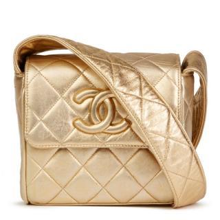 Chanel Vintage Metallic Gold Shoulder Flap