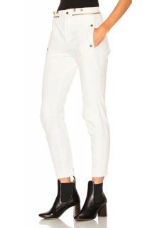 Chloe Washed Denim Moto Pants in Optic White