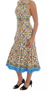 Dolce & Gabbana Multicolor Majolica Print Cotton Dress