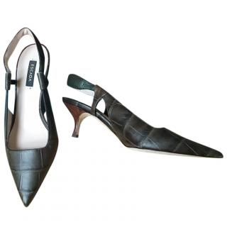 Escada crocodile-effect leather slingback pumps