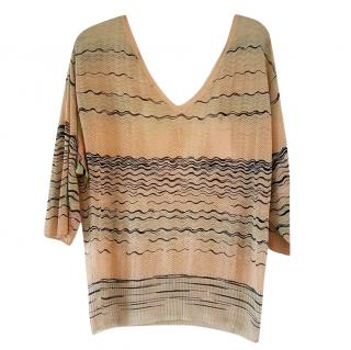 Missoni tie-back zig-zag knit top