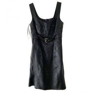 McQ by Alexander McQueen black leather mini dress