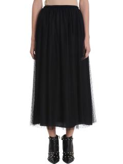 Red Valentino black tulle midi skirt