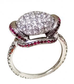 Bespoke Ruby & Diamond Bombe ring