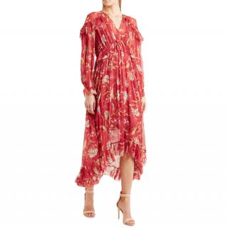 Zimmermann Corsair ruffled floral-print crepon midi