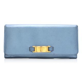 Prada Metallic Blue Flap Wallet
