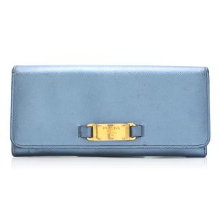 Prada Metallic Blue Flap Wallet