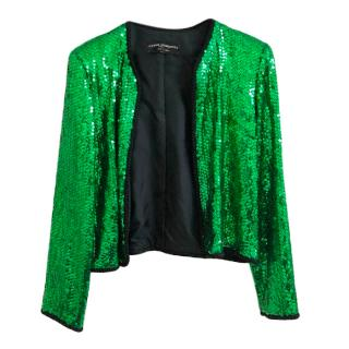 Chanel Creations Green Sequin Vintage Jacket