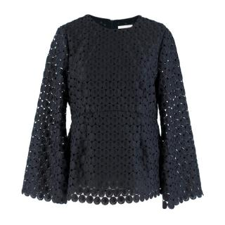 Zimmermann Navy Embroidered Lace Top